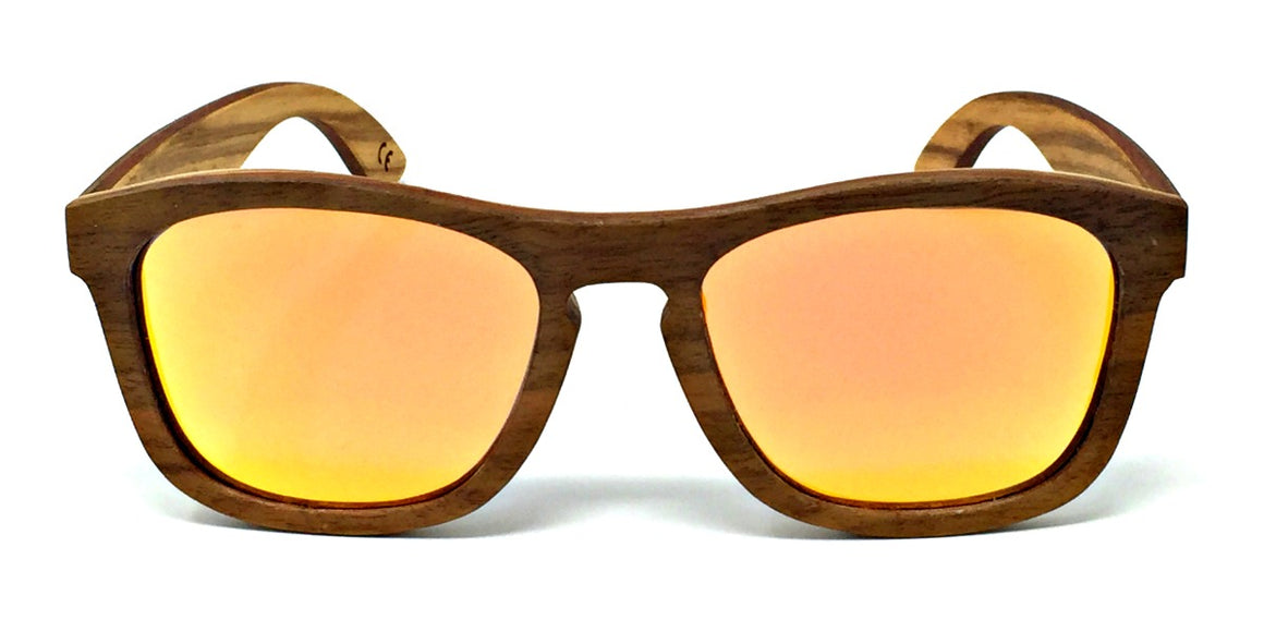 Flynn - Walnut Maple Layered Wood Sunglasses Orange Polarized Lenses