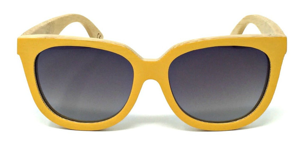 Nora - Yellow Bamboo Sunglasses with Polarized Fade Lenses