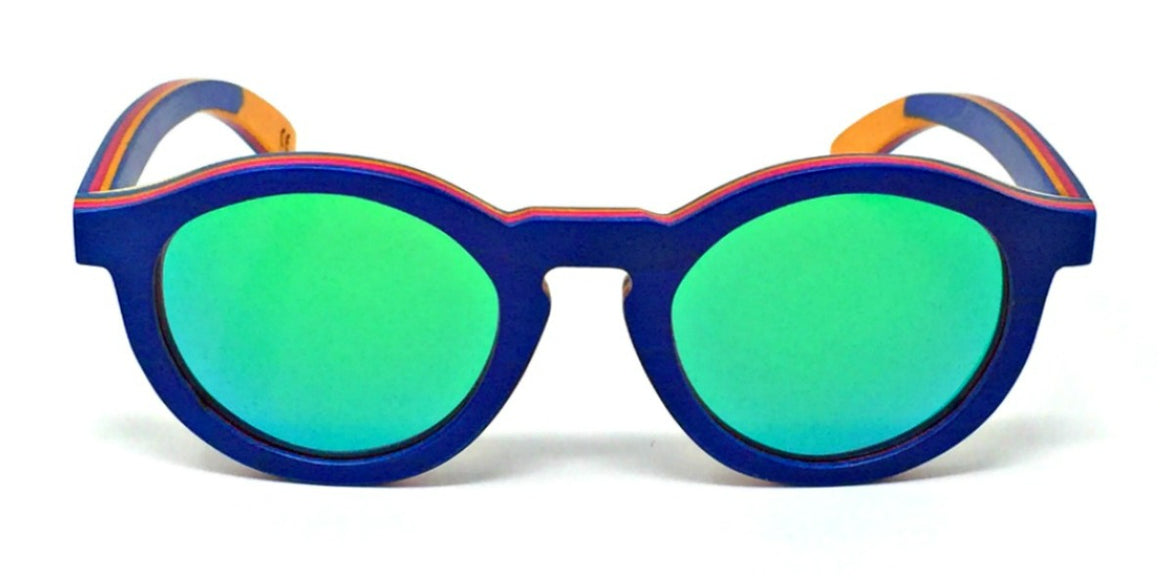 Remy - Blue Layered Wood Kids Sunglasses with Green Polarized Lenses
