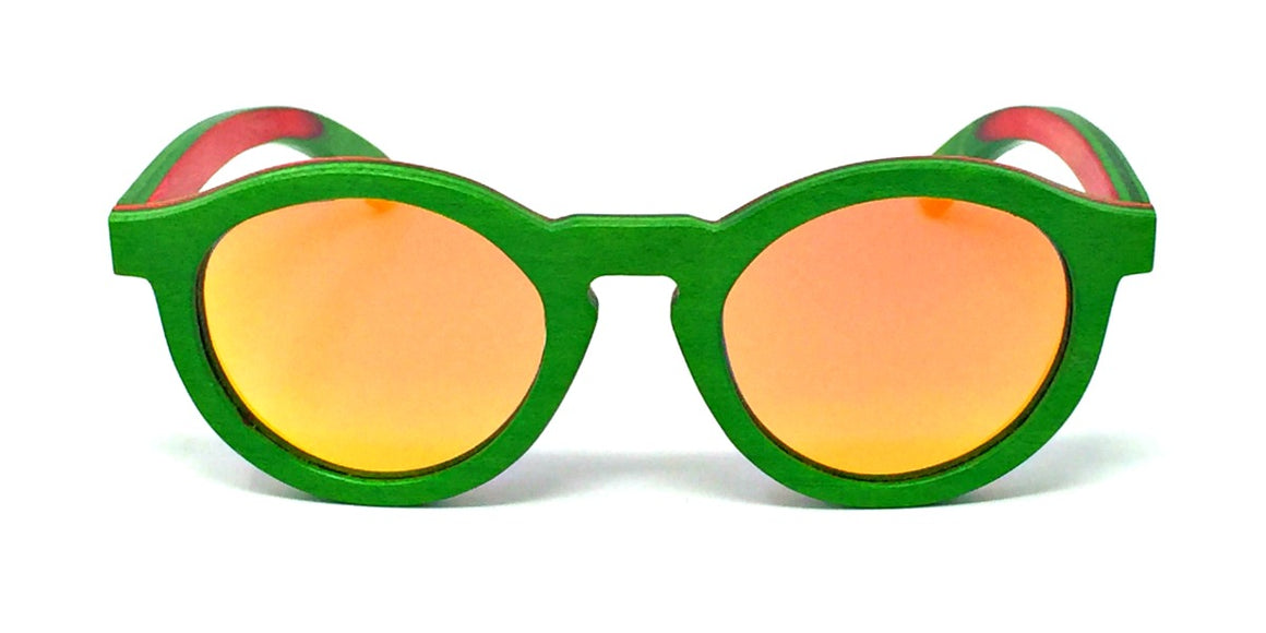 Remy - Green Layered Wood Kids Sunglasses with Orange Polarized Lenses