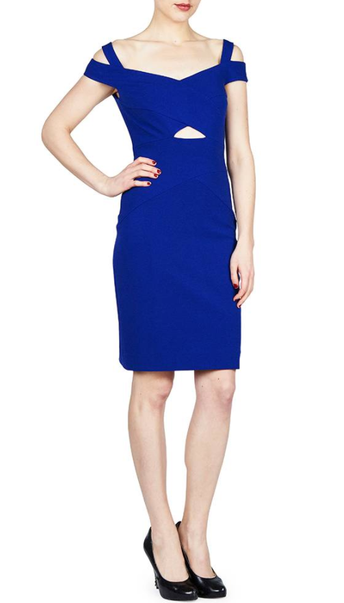 Nicole Miller Cold Shoulder Dress with Front Cut Out