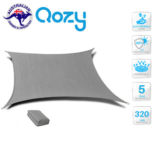 Qozy SUPER Extra Heavy Duty Shade Sail Sun Canopy 320gsm Square Rectangle Grey