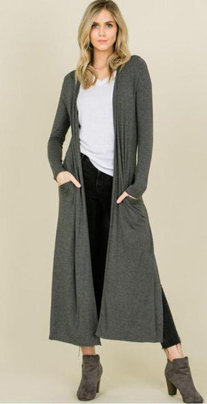 Grey Maxi Cardigan with Pockets