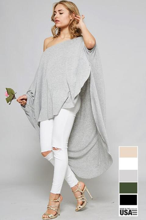 Grey Oversized Poncho