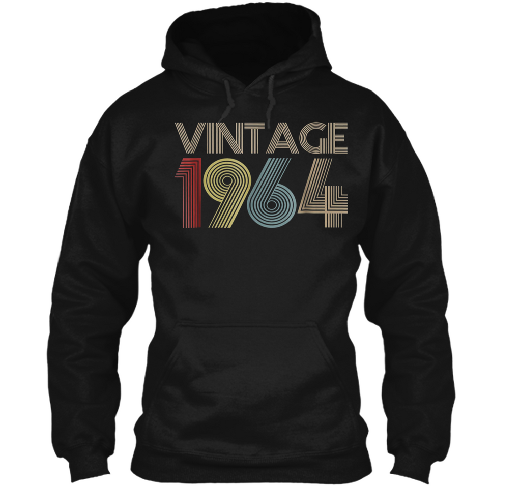 55th Birthday Gift Idea Vintage 1964  Distressed Pullover Hoodie 8 oz