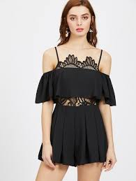 LACE INSERT FRILL PLAYSUIT
