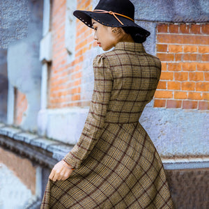 Modest Vintage Stylish Plaid Wool Dress-Dress-PureDesignTees