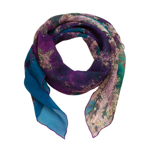 Hong Kong, China map print scarf in silk/georgette blend.