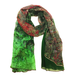 Los Angeles, California green map print scarf in silk.