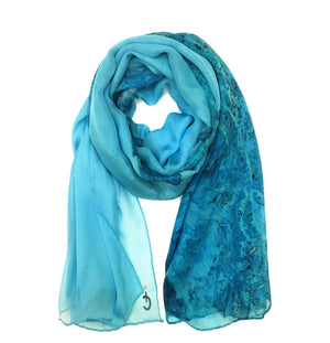 Marseilles, France map print scarf in silk/chiffon blend. Perfect souvenir or gift.