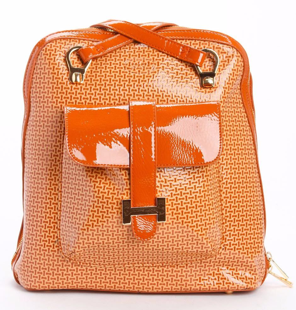 Burnt Orange | Patent Leather | Convertible Backpack
