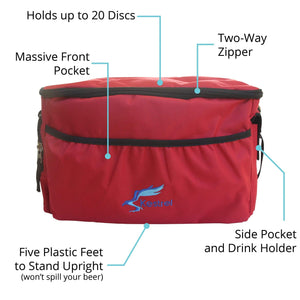 Kestrel Outdoors Red Kestrel Disc Golf Bag | Made from Heavy Duty Canvas | Fits up to 18 Discs & Other Equipment