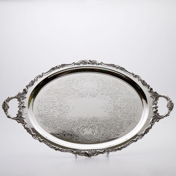 Wallace Baroque Silver Plated Oval Tray