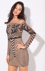 Meryl Black & Nude Glitter Long Sleeve Mini Dress - Fashion Genie Boutique USA Alt