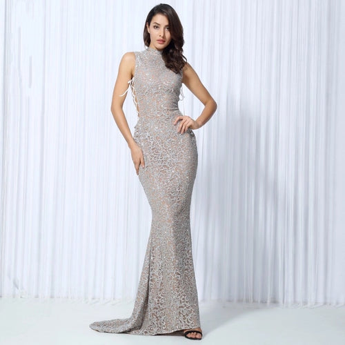 Hopeless Romantic Silver Glitter Fishtail Maxi Gown Party Dress - Fashion Genie Boutique USA Alt