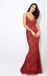 Sweet Delight Red Glitter Plunge Maxi Gown Dress - Fashion Genie Boutique USA Alt