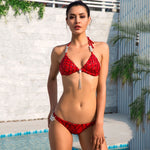 Sunrise Swimmer Red Sequin Bikini Swimsuit - Fashion Genie Boutique USA Alt