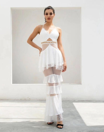 Tyra White Strappy Tiered Frill Maxi Dress - Fashion Genie Boutique USA Alt