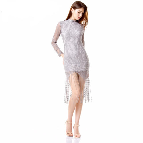Sweet Like Honey Grey Long Sleeved Fringed Hem Mini Dress - Fashion Genie Boutique USA Alt
