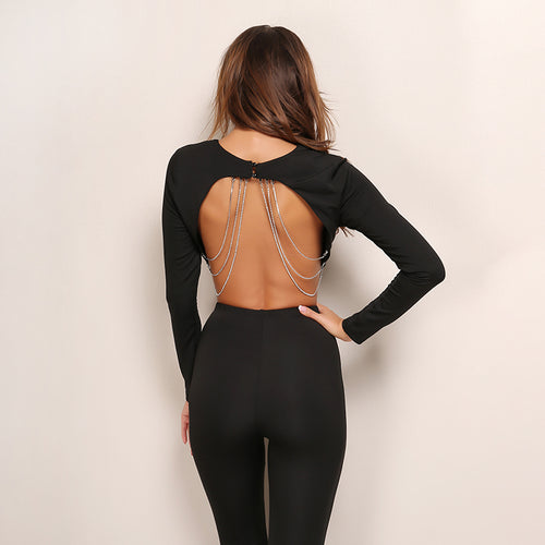 Take Me Home Chained Backless Long Sleeve Crop Top - Fashion Genie Boutique USA Alt