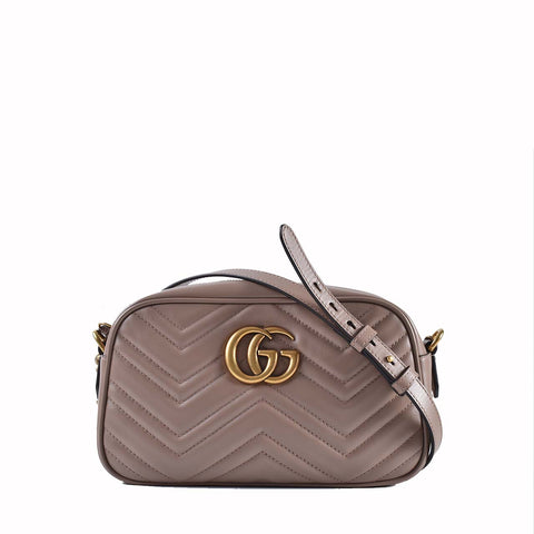 Gucci GG Marmont Small Matelassé Shoulder Bag in Dusty Pink