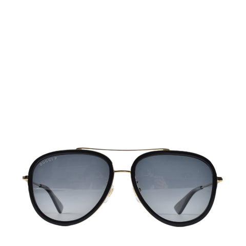 Gucci GG 0062S 011 Black Gold Metal Aviator Sunglasses Grey Gradient Polarized Lens