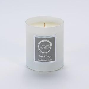 Taylor Benfield Floral & Ginger luxury scented home candle beautifully packaged in white matte glass.