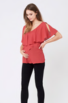 Ripe Maternity Waterfall Nursing Top - Lava