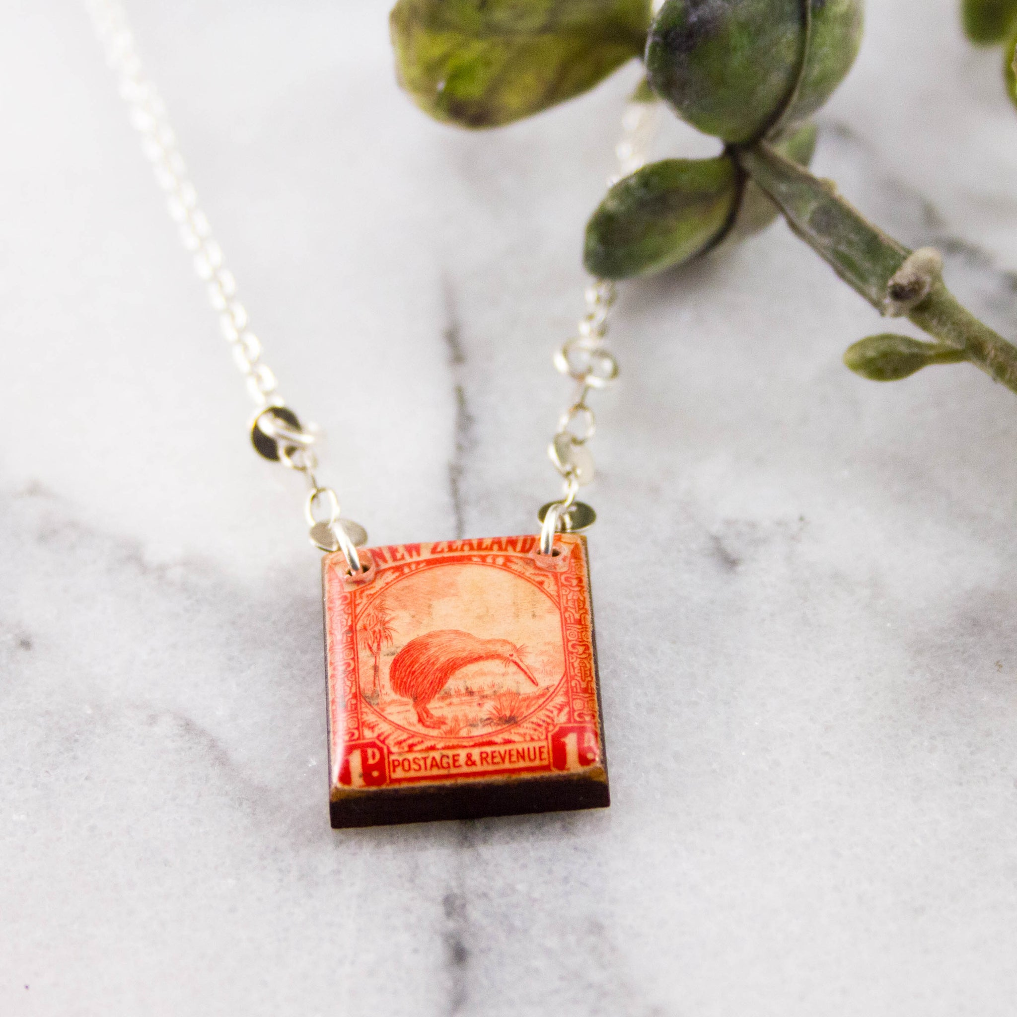 NEW ZEALAND- Antique Kiwi Bird Postage Stamp Necklace