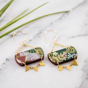 Festival Drop Earrings- Deep Green Floral