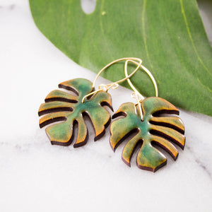 Monstera Leaf Wood + Resin Earrings
