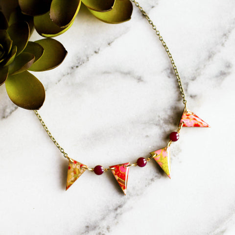 Japanese Paper Pennant Necklace... Magenta - No Man's Land Artifacts