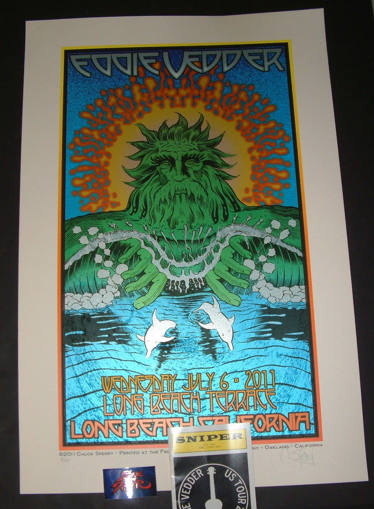 Chuck Sperry Eddie Vedder Long Beach Poster With Sniper Program 2011 Artist Edition