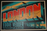 Jeff Soto Eddie Vedder Poster Greetings From London England 2012 S/N