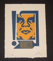 Shepard Fairey Giant Arrow Mustard and Navy Letterpress Art Print 2014