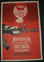 Shepard Fairey God Saves Satan Invests NRA Edition Art Print 2013 S/N