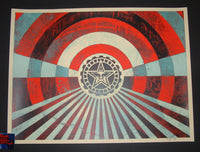 Shepard Fairey Tunnel Vision Art Print Blue Red Variant 2018