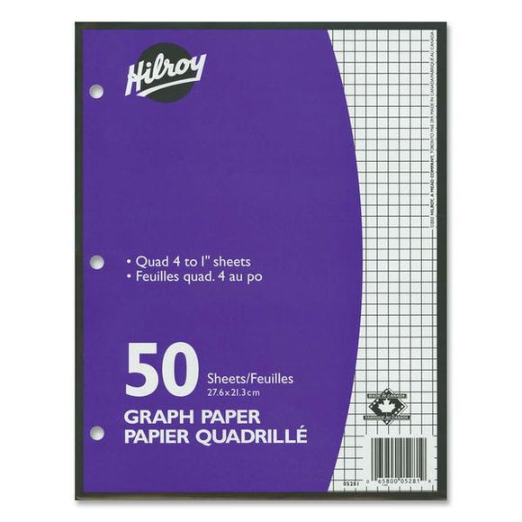 Hilroy 4:1in Two Sided Quad Ruled Filler Paper