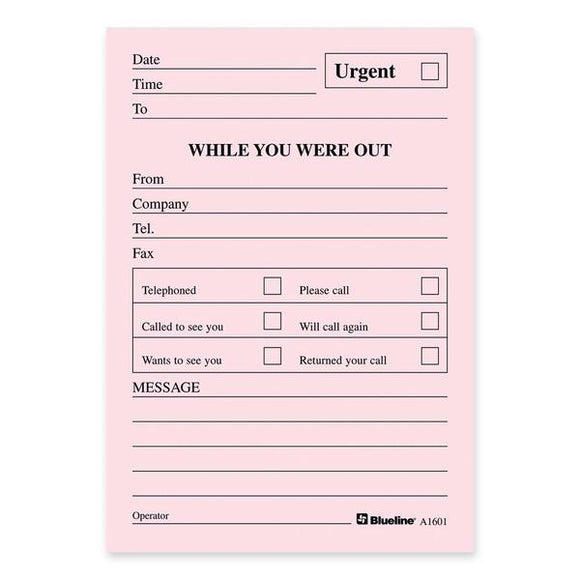 Blueline A1601 Telephone Message Pad