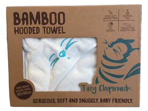 Gift box for Tiny Chipmunk extra-large bamboo hooded towel with ears - blue