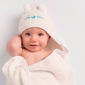 Baby wearing Tiny Chipmunk extra-large bamboo hooded towel with ears - blue