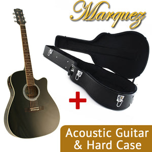MD150 Black Electric Acoustic Guitar + Hard Case Bundle