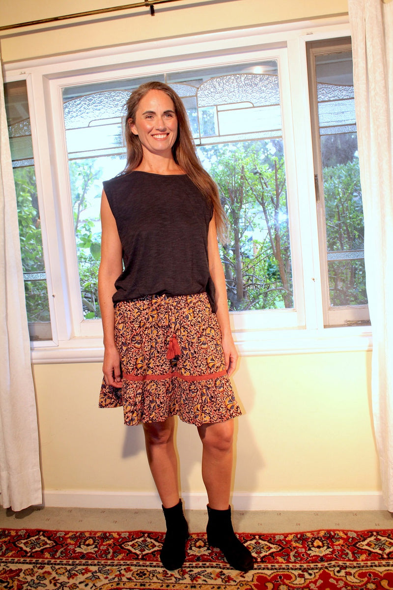 Gypsy Belle Mini Skirt - Spice/Indigo