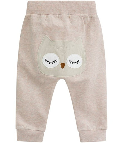 Pink baby sweatpants with owl patch
