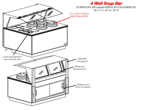 SW5637-AW-ISW4-S-CUSTOM-LED-VH Single Sided Soup Bar with Adjustable Sneezeguard