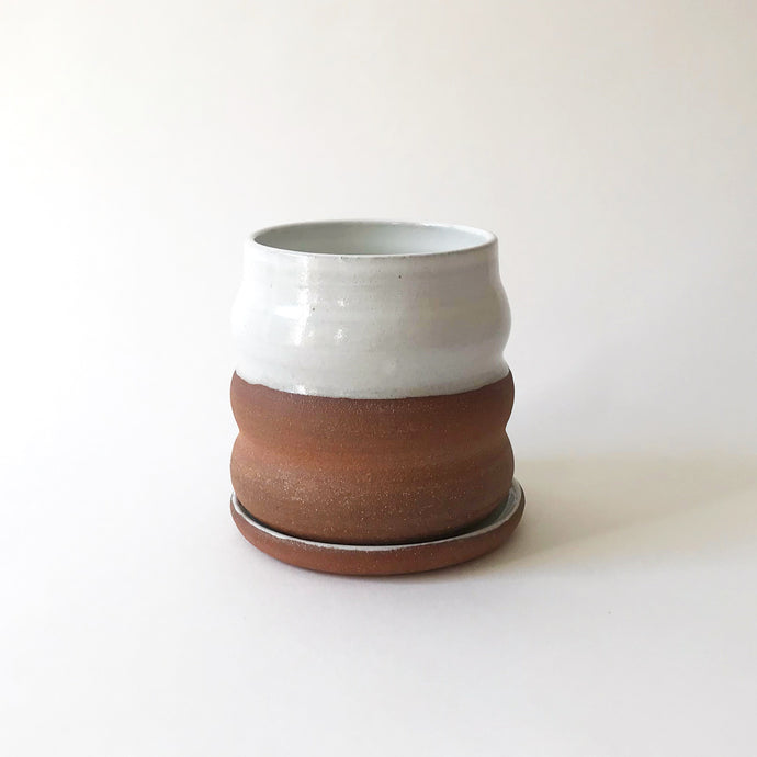 Wavy Planter and Saucer - Raw Red Clay/White