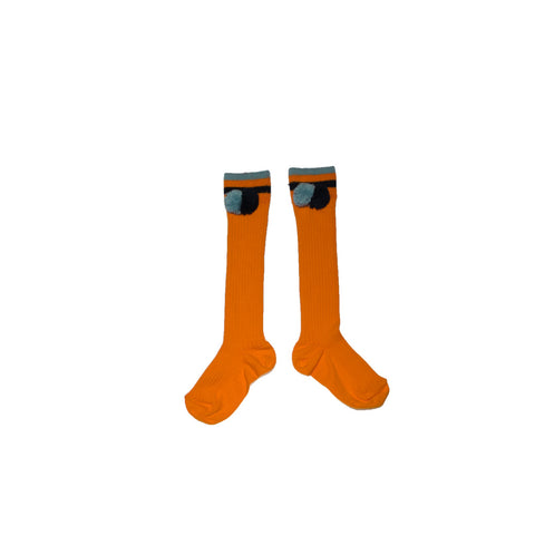 KNEE HIGH SOCKS WITH POMPOMS