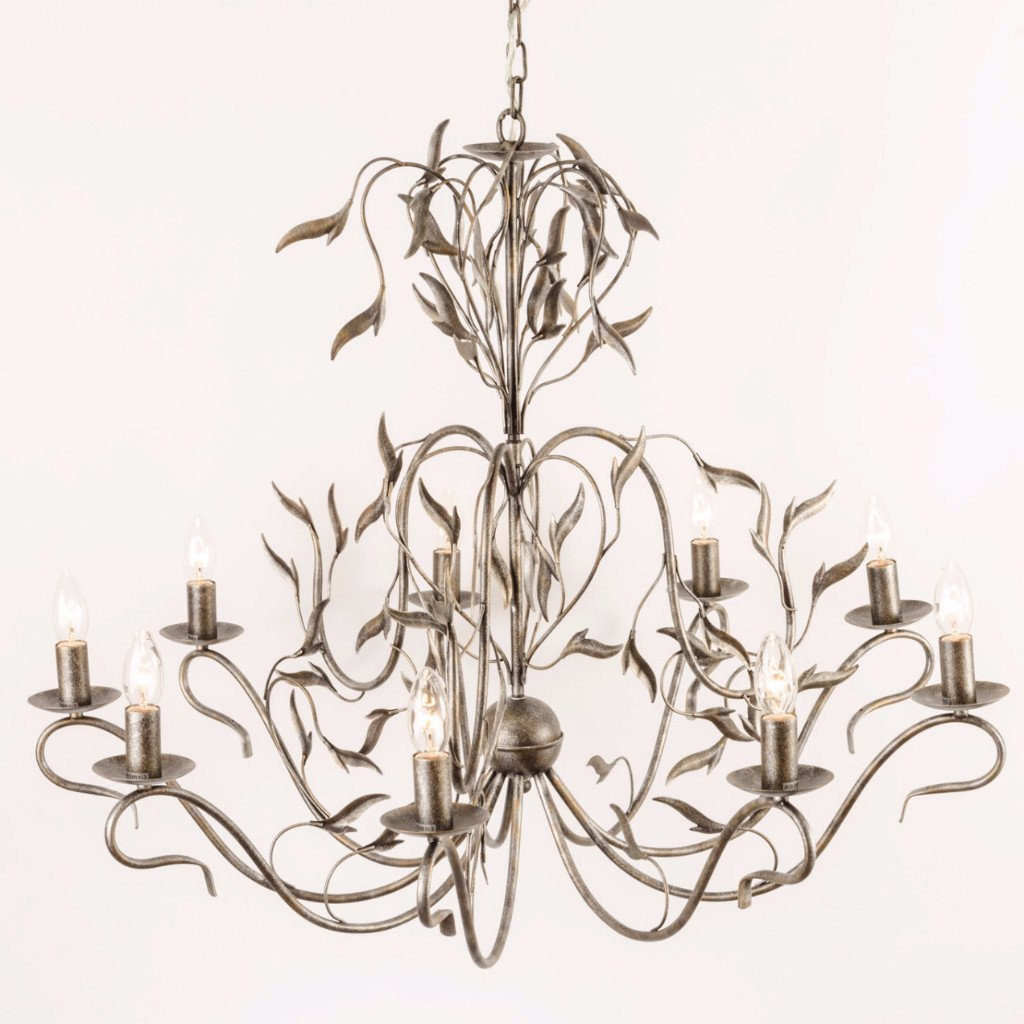 Eden 9 Light Antique Silver Foliage Chandelier