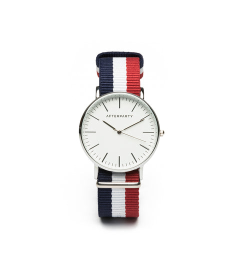 Urban Striped Navy Red Nylon Watch
