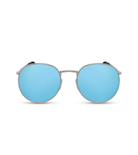 Round Blue Flash Lens Sunglasses